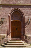 Frontal view to a entrance in the St. Bonifatius catolic church, Bad Wildbad, Germany Royalty Free Stock Photos