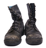 Isolated Used Army Boots - Frontal Royalty Free Stock Image