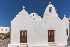 Frontal view White orthodox church in Mykonos, Greece Royalty Free Stock Images