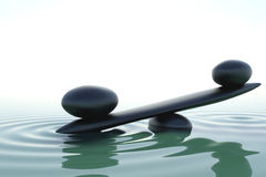 Frontal zen balace. A balance stone in a zen water Stock Photography