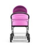 Frontale mening van een babywandelwagen op een witte achtergrond 3d geef terug Stock Foto's