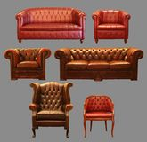 Frontales del sofá aislados en fondo gris Imagen de archivo