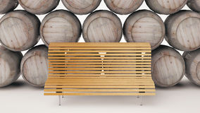 Frontally facing bench in wood Stock Image