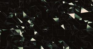 Frontansicht des warmen grünen reflektierenden Musters der beweglichen Dreiecke stock footage