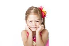 Fronte adorabile della bambina su priorità bassa bianca Fotografia Stock Libera da Diritti