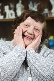 Fronte anziano felice della donna Fotografie Stock Libere da Diritti