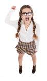 Fronte arrabbiato della ragazza del nerd fotografie stock libere da diritti