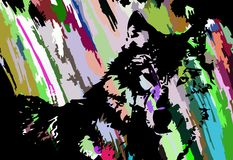 Fronte artistico variopinto del lupo illustrazione vettoriale