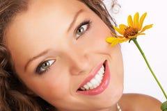 Fronte attraente della donna. Fotografia Stock