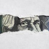 Fronte australiano dei soldi attraverso carta lacerata Fotografia Stock