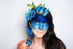 Fronte blu di arte della donna Immagini Stock Libere da Diritti