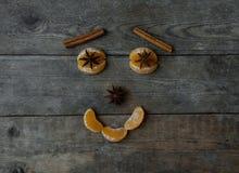 Fronte con il mandarino, l'anice e la cannella su fondo di legno Immagine Stock