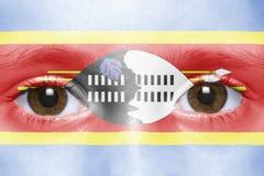 Fronte con la bandiera dello Swaziland Fotografie Stock Libere da Diritti