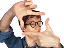 Fronte d'inquadramento dell'uomo con le mani Fotografie Stock