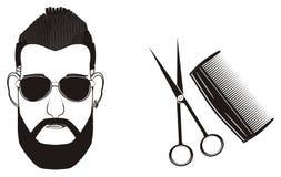 Fronte degli uomini con gli oggetti tagliati royalty illustrazione gratis