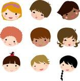 Fronte dei bambini del fumetto Fotografie Stock Libere da Diritti
