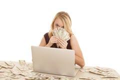 Fronte dei soldi del computer Immagini Stock