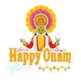 Fronte del ballerino di Kathakali per la celebrazione di Onam illustrazione vettoriale