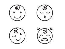 Fronte del bambino e linee piane icone di emozioni Fotografie Stock