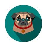 Fronte del cane del carlino - illustrazione di vettore Immagine Stock Libera da Diritti