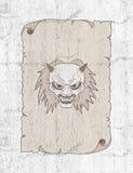 Fronte del demone nel vecchio tiraggio di carta illustrazione di stock