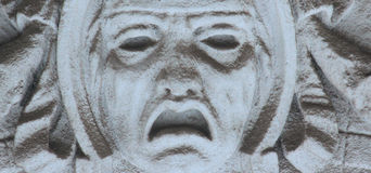 Fronte del dio della morte Hades (statua) Fotografia Stock