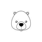 Fronte del disegno del castoro royalty illustrazione gratis