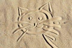 Fronte del gattino sulla sabbia della spiaggia Fotografia Stock Libera da Diritti
