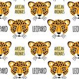 Fronte del leopardo con iscrizione su un fondo bianco isolato Immagine Stock Libera da Diritti