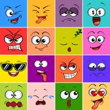 Fronte del mostro del fumetto Emoji Emoticon svegli Avatar variopinti quadrati illustrazione di stock
