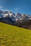 Fronte del nord della montagna di Spik dalla Martuljek-Slovenia Fotografia Stock