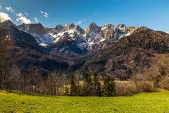 Fronte del nord della montagna di Spik dalla Martuljek-Slovenia Fotografia Stock Libera da Diritti