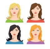 Fronte del ` s della donna con colore differente dei capelli Fotografia Stock Libera da Diritti