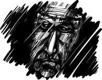 Fronte dell'uomo anziano nella nerezza Immagine Stock Libera da Diritti