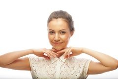 Fronte della bella donna con pelle pulita Fotografie Stock Libere da Diritti
