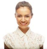 Fronte della bella donna con pelle pulita Fotografia Stock