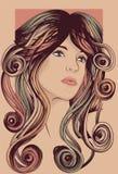 Fronte della donna con capelli dettagliati Immagini Stock Libere da Diritti