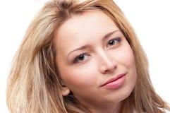 Fronte della donna con trucco naturale, isolato Fotografie Stock Libere da Diritti