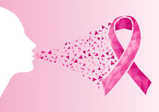 Fronte della donna della trasparenza del nastro di consapevolezza del cancro al seno. Fotografia Stock Libera da Diritti