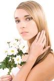 Fronte della donna, ritratto di modo con i fiori Fotografie Stock