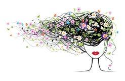 Fronte della ragazza, acconciatura floreale Immagine Stock