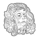 Fronte della ragazza con il cranio dello zucchero o il trucco di Calavera Catrina e rose isolate su bianco Vector l'illustrazione Immagine Stock