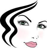 Fronte della ragazza con taglio di capelli stilizzato illustrazione di stock