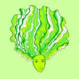 Fronte della ragazza del cavolo verde Fotografia Stock