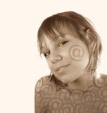 Fronte della ragazza del email Fotografie Stock Libere da Diritti