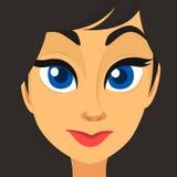 Fronte della ragazza del fumetto Illustrazione di vettore di bello avatar della donna illustrazione vettoriale