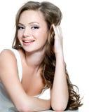 Fronte della ragazza dell'adolescente con pelle pulita Fotografia Stock