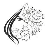 Fronte della ragazza e dei fiori illustrazione vettoriale