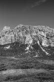 Fronte della scogliera della montagna in bianco e nero Fotografia Stock Libera da Diritti