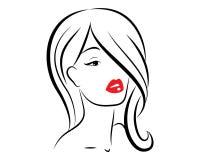 Fronte delle donne dell'icona con il vettore rosso delle labbra illustrazione di stock